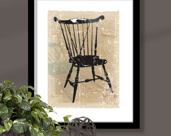 Windsor Chair 2 on tan background, chair art, windsor chair print, furniture art, distressed chair print, distressed background