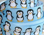 "1"" Little Penguin Grosgrain Ribbon 2, 3 or 5 yards"