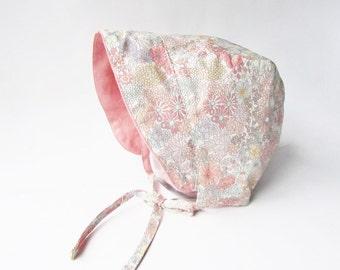 Girl Baby bonnet, Baby flower bonnet, Baby Girl pink hat, Reversible Baby Sunhat, Baby winter hat, Corduroy or Linen w Flower Cotton