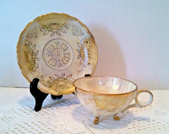 Vintage Gilt Porcelain Lustreware Tea Cup & Saucer - Yellow and White - 3 Footed Tea Cup - Circa 1950s