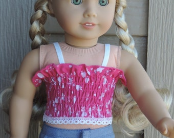 Hot Pink Smocked Crop Top for American Girl Dolls and other 18 inch dolls