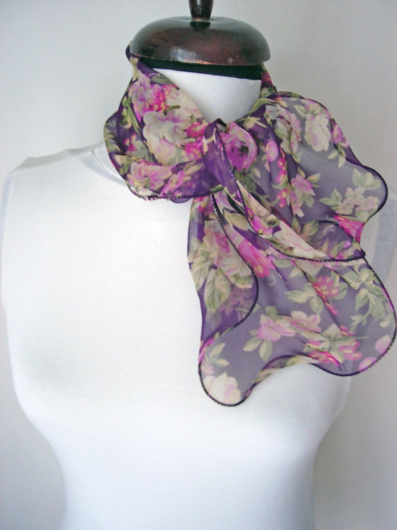 purple floral scarf scarves wrist wraps neck wrap