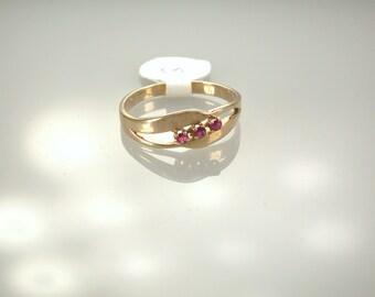14K Yellow Gold Ruby Ring, July Birthstone