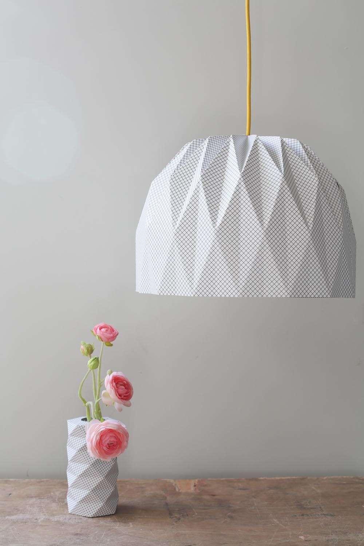Large Origami Lamp Plaid Hanging Lampshade Paper Lampshade