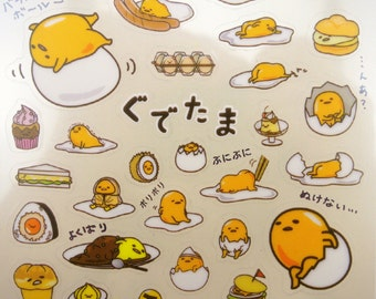 Japanese Gudetama lazy egg stickers by Sanrio! Kawaii breakfast food - lunch snacks - pancakes - sweets & treats - tarts - cakes - sandwich