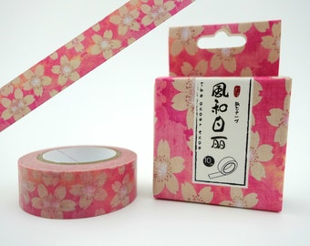 Japanese cherry blossom 10m washi tape in a box - sakura flowers - Japan floral decortative masking paper tape - pink & white flower deco