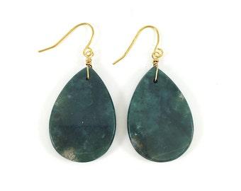 Teardrop Earrings, Stone, Polished, Dangly, Gemstone, Moss Agate, Dark Green, Gold, Boho, Bohemian, One of a kind, Minimalist Earrings, Gift