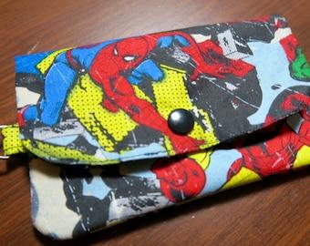 Spider Man Iron Man Coin Pouch Zippered Mini Wallet Super Hero