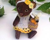 Reserved Teddy bear Honey miniature bear textile toy gift for girls OOAK Handmade art plush toy