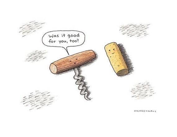 Fun corkscrew print man cave artwork wine humor bar decor - Funny wine openers ...