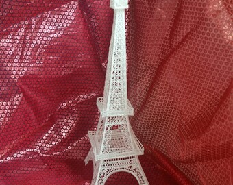 "Embroidered Eiffel Tower 17"" tall, Lace Eiffel Tower,"
