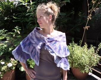 """Scarf / shawl / wrap """"lilac"""" OOAK nuno felted Art to Wear"""