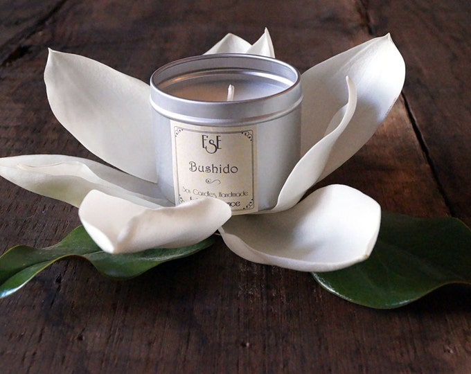 "Soy Candle, Magnolia Cherry, ""Bushido"", 6oz, Tin candle, Scented Candle, Home Decor, Natural Scent, Luxury Favors, Wedding"