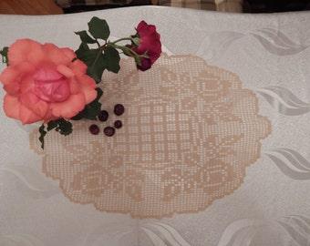 Crochet doily Crochet oval tablecloth  Lace doily Chrochet oval doily
