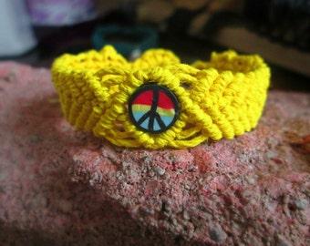25% OFF SALE Yellow Macrame Cuff, Clay Bead Bracelet, Rasta Peace Sign Hemp Bracelet, Macrame Jewelry, Rastafarian, Hemp Cuff