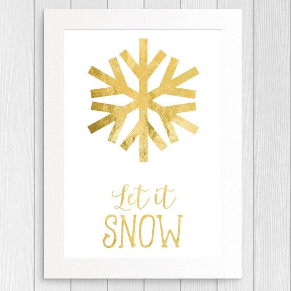 Let it snow Christmas Printable Wall Art | Gold Foil Snowflake Wall Decor | Christmas Home Wall Decor Print | Gold Foil Christmas Print