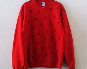 Triangles Hand Printed Red Sweatshirt