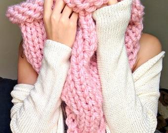 Giant Chunky Knit Scarf, Knit Super Scarf, Soft Wool Infinity Scarf, Super Chunky Hooded Scarf, Super Knit Infinity Scarf, Thick Knit Cowl