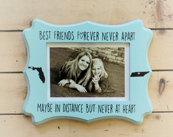 best friends photo frame best friends picture frame long distance friends gift for best friend bff picture frame with states