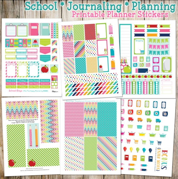 School - Planning - Journaling Printable Planner Stickers - 6 Full Pages!  (Made to fit The Happy Planner by MAMBI)