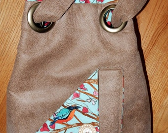 Large Fabric Slouch Bag with Bird Pattern
