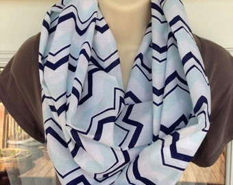 Blue, White and Mint Infinity Scarf