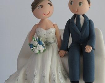 Customised sitting Bride & Groom cake topper