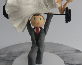 Groom Weightlifting Bride Cake Topper