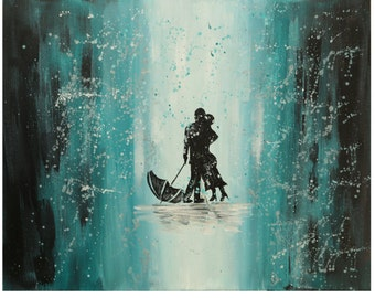 Kiss me In the Rain Acrylic painting, Gift for her, Home decor, love painting, original art