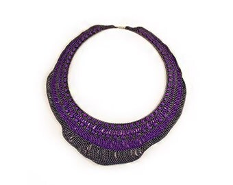 Crochet Collar - crochet necklace - Crochet Jewelry - Cotton necklace - purple - grey