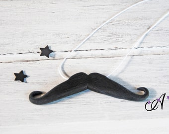 Necklace jewelry movember polymer clay fimo black mustache