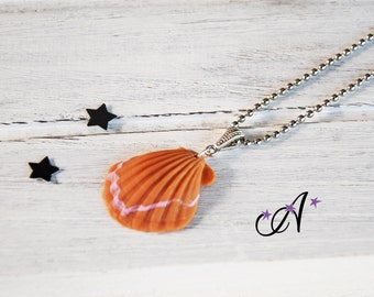 Shell, ball chain necklace, shell beige and pink made clay polymer fimo pendant Beach, summer.