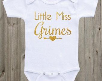 Little Miss Personalized Onesie Newborn Onesie Custom Onesie Baby Girl Outfit Baby Girl Clothes Gold Glitter Baby Shirt Baby Shower Gift