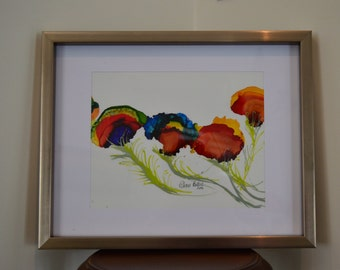 Peacock Feathers Abstract Original Alcohol Ink Painting