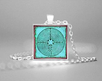 LABYRINTH JEWELRY LABYRINTH Pendant on Parchment Labyrinth Chartres Sacred Maze Mandala Jewelry Sacred Geometry Spiritual Pendant Turquoise