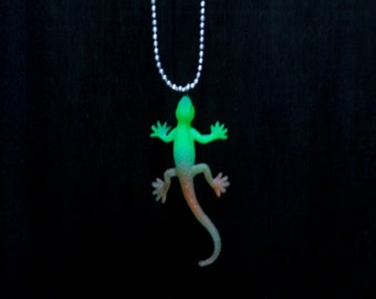 Harley the Luminous Glow in the Dark Neon Salamander who ate all the Fireflies on Ball Chain Necklace