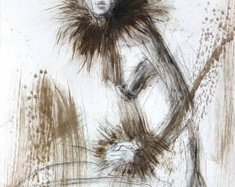 Woman wall art, Giclee print, Charcoal sketch, Woman print, Fine art print, Woman drawing, Wall decor print, Figurative Graphic art print