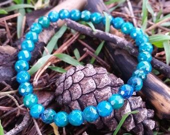 Azurite Chrysocolla Faceted Bracelet 6mm