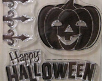 """We R Memory Keepers """"Pumpkin Patch"""" Spookville 3 Clear Acrylic Scrapbooking Stamp Scrapbooking Ideas, Halloween Embellishments & Card Making"""