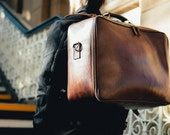 Large Leather Duffle Bag Mens Leather Suitcase Handmade Leather Bag Large Travel Suitcase Vintage Retro Holdall Mens Fashion Hip