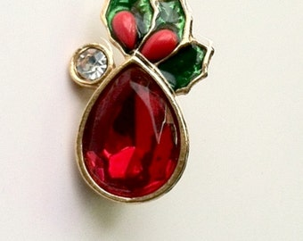 Repurposed Vintage Avon Christmas Clip Earring into a Brooch