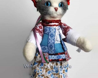 cute cat dry felting handmade Ukrainian national costume embroidery exclusive wool cat sculpture  woolen toys cat toys