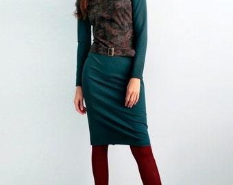 SALE Medium sise Women's jersey green dress Dress with flower print Dress with long sleeves