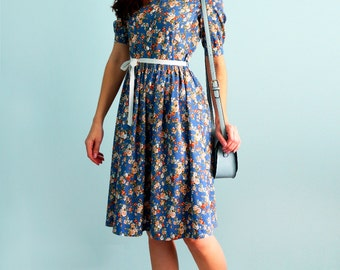 Blue dress with flower print Denim cotton dress Long sleeves Dolly dress