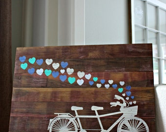 """Reclaimed Rustic Wood Sign: Tandem Bike With Heart Trail. Can Be Customized 24""""x18"""" Perfect for a Wedding or Anniversary"""