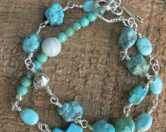 Sundance Style Bracelet, Turquoise Bracelet, Double Strand Bracelet, Silver and Turquoise Bracelet