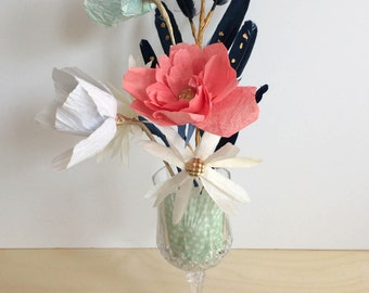 hand made paper flower centerpiece, Roses / poppies / daisies / feathers