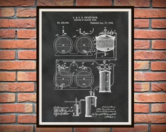 Patent 1893 Beer Brewing System - Art Print Poster - Wall Art - Bar Room - Craft Beer Wall Bar Art - Beer Making Process - Invention