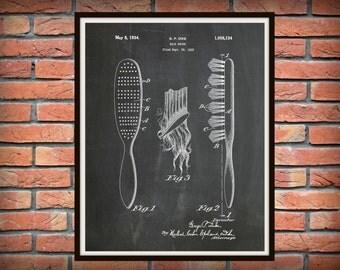 Patent 1934 Hair Brush - Art Print - Poster - Barber Shop Art - Hair Salon Wall Art - Hairdresser Art - Bathroom Decor - Beauty Parlor