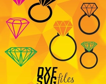 7 Diamonds and rings silhouettes in DXF, PNG and SVG files Instant download!